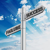 Success and failure road signs Stock Photography