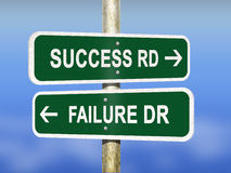 Success or failure road signs. Conceptual success or failure directional signs Stock Image