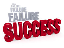 Success After Failure. Sharp focus on bold, red SUCESS in front of a row of plain gray FAILUREs blurring and fading into the distance. Isolated on white Royalty Free Stock Image
