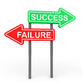 Success and failure sign board Stock Images