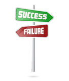 Success and failure signal. Illustration of success and failure through life represented as road sign Stock Images