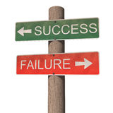 Success and failure signpost. White background Royalty Free Stock Images
