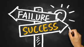 Success or failure signpost hand drawing on blackboard Stock Photos