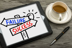 Success or failure signpost hand drawing on tablet pc Stock Images