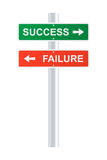 Success and failure signpost Stock Photography