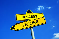 Success or Failure. Traffic sign with two options. Going through difficult mask or mission with two results, to succed and meet the goal or fail royalty free stock image