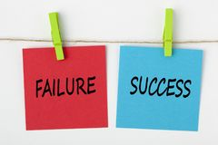 Success or failure written on note concept. SUCCESS or FAILURE written on note paper with wooden pinch on white background. Business Concept Stock Photo