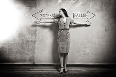 Success - Failure. Young girl against the old wall with graffiti. toned image Stock Photography