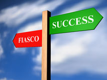 Success and fiasco. Green and red illustrated signs Stock Images