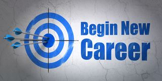 Finance concept: target and Begin New Career on wall background. Success finance concept: arrows hitting the center of target, Blue Begin New Career on wall Stock Photo