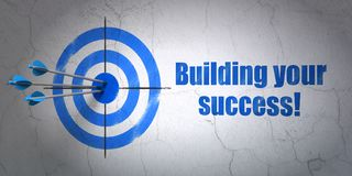 Finance concept: target and Building your Success! on wall background. Success finance concept: arrows hitting the center of target, Blue Building your Success! Royalty Free Stock Photography