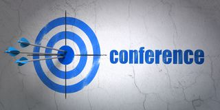 Finance concept: target and Conference on wall background. Success finance concept: arrows hitting the center of target, Blue Conference on wall background, 3D Stock Image