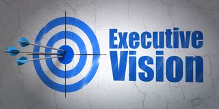 Finance concept: target and Executive Vision on wall background. Success finance concept: arrows hitting the center of target, Blue Executive Vision on wall Stock Images