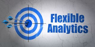 Finance concept: target and Flexible Analytics on wall background. Success finance concept: arrows hitting the center of target, Blue Flexible Analytics on wall Royalty Free Stock Images