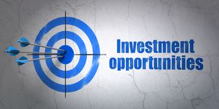 Finance concept: target and Investment Opportunities on wall background. Success finance concept: arrows hitting the center of target, Blue Investment Royalty Free Stock Images