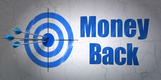 Finance concept: target and Money Back on wall background. Success finance concept: arrows hitting the center of target, Blue Money Back on wall background, 3D Stock Photography