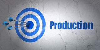 Finance concept: target and Production on wall background. Success finance concept: arrows hitting the center of target, Blue Production on wall background, 3D Stock Photo