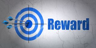 Finance concept: target and Reward on wall background. Success finance concept: arrows hitting the center of target, Blue Reward on wall background, 3D rendering Stock Photography