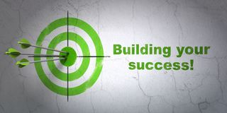 Finance concept: target and Building your Success! on wall background. Success finance concept: arrows hitting the center of target, Green Building your Success Royalty Free Stock Photography