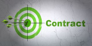 Finance concept: target and Contract on wall background. Success finance concept: arrows hitting the center of target, Green Contract on wall background, 3D Royalty Free Stock Photo