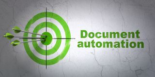 Finance concept: target and Document Automation on wall background. Success finance concept: arrows hitting the center of target, Green Document Automation on Stock Photo