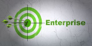 Finance concept: target and Enterprise on wall background. Success finance concept: arrows hitting the center of target, Green Enterprise on wall background, 3D Stock Images