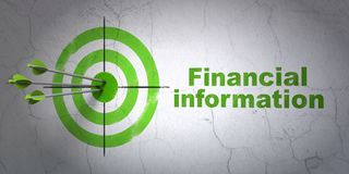 Finance concept: target and Financial Information on wall background. Success finance concept: arrows hitting the center of target, Green Financial Information Royalty Free Stock Photos