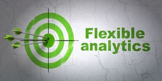 Finance concept: target and Flexible Analytics on wall background. Success finance concept: arrows hitting the center of target, Green Flexible Analytics on wall Stock Images