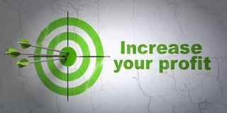 Finance concept: target and Increase Your profit on wall background. Success finance concept: arrows hitting the center of target, Green Increase Your profit on Stock Image