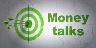 Finance concept: target and Money Talks on wall background. Success finance concept: arrows hitting the center of target, Green Money Talks on wall background Stock Image