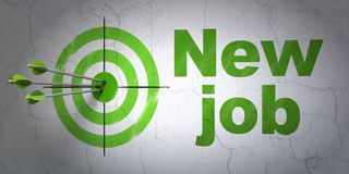 Finance concept: target and New Job on wall background. Success finance concept: arrows hitting the center of target, Green New Job on wall background, 3D Royalty Free Stock Photos