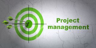 Finance concept: target and Project Management on wall background. Success finance concept: arrows hitting the center of target, Green Project Management on wall Stock Photography