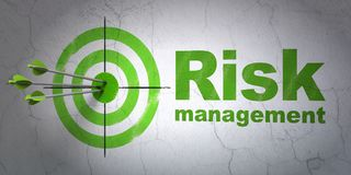 Finance concept: target and Risk Management on wall background. Success finance concept: arrows hitting the center of target, Green Risk Management on wall Royalty Free Stock Images