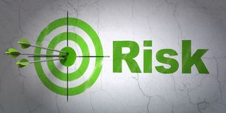 Finance concept: target and Risk on wall background. Success finance concept: arrows hitting the center of target, Green Risk on wall background, 3D rendering Stock Image