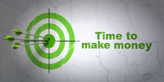 Finance concept: target and Time to Make money on wall background. Success finance concept: arrows hitting the center of target, Green Time to Make money on wall Stock Image