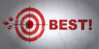 Finance concept: target and Best! on wall background. Success finance concept: arrows hitting the center of target, Red Best! on wall background, 3D rendering Royalty Free Stock Photos