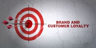 Finance concept: target and Brand and Customer loyalty on wall background. Success finance concept: arrows hitting the center of target, Red Brand and Customer Royalty Free Stock Photos