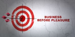 Finance concept: target and Business Before pleasure on wall background. Success finance concept: arrows hitting the center of target, Red Business Before Stock Photo