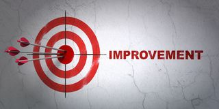 Finance concept: target and Improvement on wall background. Success finance concept: arrows hitting the center of target, Red Improvement on wall background, 3D Royalty Free Stock Image