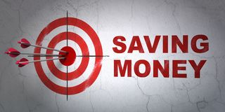 Finance concept: target and Saving Money on wall background. Success finance concept: arrows hitting the center of target, Red Saving Money on wall background Royalty Free Stock Photo