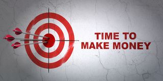 Finance concept: target and Time to Make money on wall background. Success finance concept: arrows hitting the center of target, Red Time to Make money on wall Royalty Free Stock Image