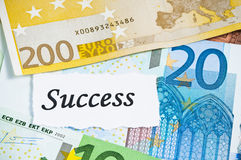 Success on finance concept with euro notes Royalty Free Stock Photos