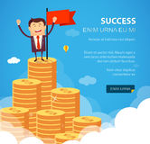 Success financial rich concept. Business vector illustration. Flat style. Successful happy business man standing on huge growth money stairs in sky. Success Royalty Free Stock Images
