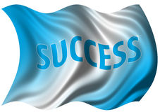 Success Flag. Conceptual Success Flag Billowing in the Wind Royalty Free Stock Photos