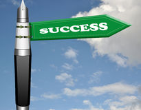 Success fountain pen road sign Stock Photo