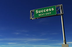 Success - Freeway Exit Sign stock photography