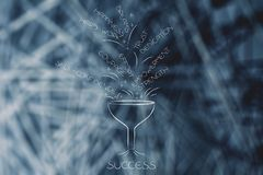 Success funnel collecting personality features needed to succeed Stock Photo