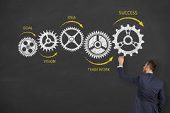 Success Gear Drawing on Blackboard royalty free stock photo