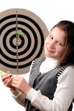 Success. Girl hitting the darts target stock photography