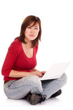 Success girl on a laptop Royalty Free Stock Photo